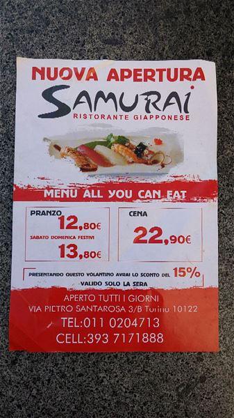 Locali samurai statuto menu samurai for Samurai torino